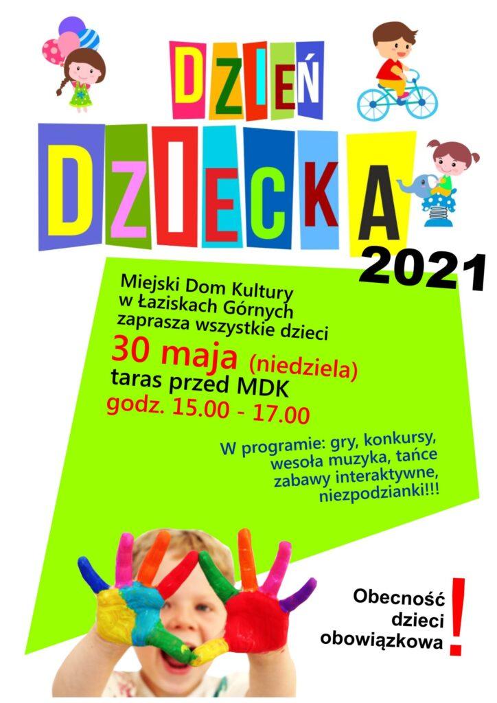 Kolorowy plakat z napisem Dzień Dziecka oraz chłopcem z pamolwanymi różnymi kolorami dłońmi