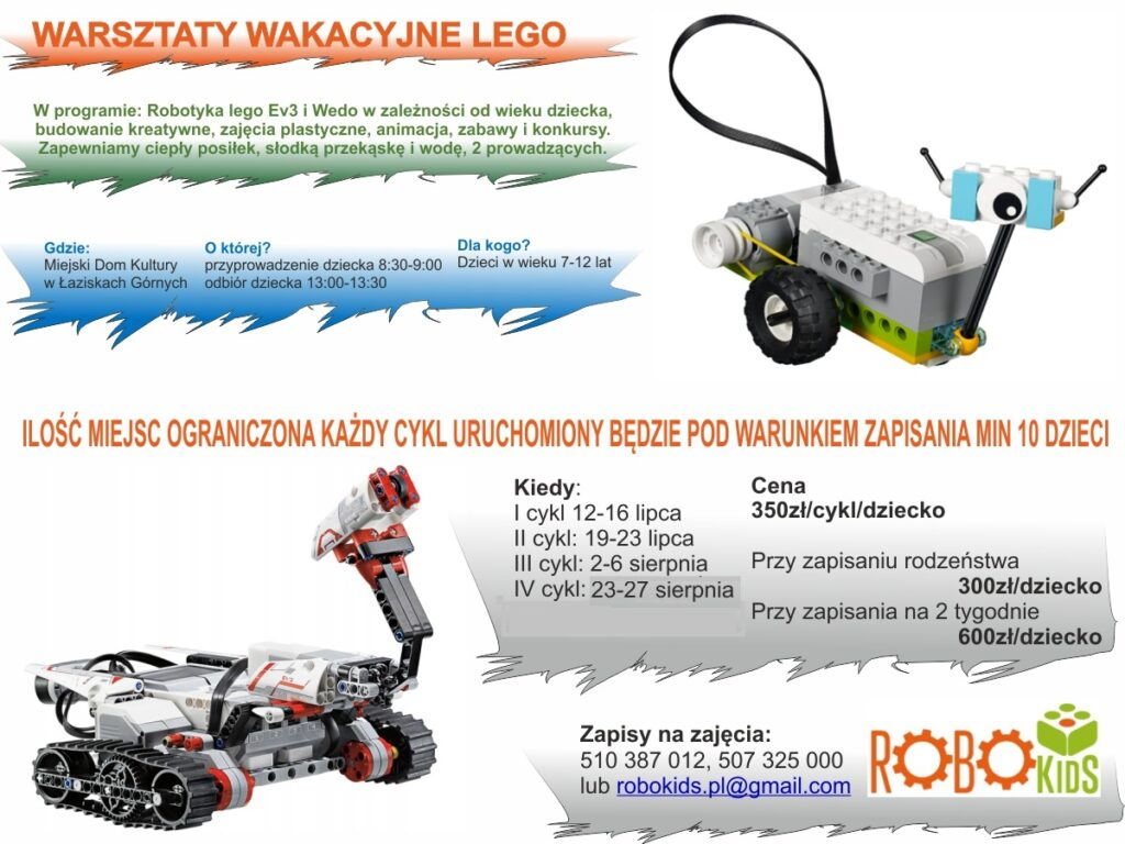 Ogłoszenie o zajęciach Wakacyjne Lego