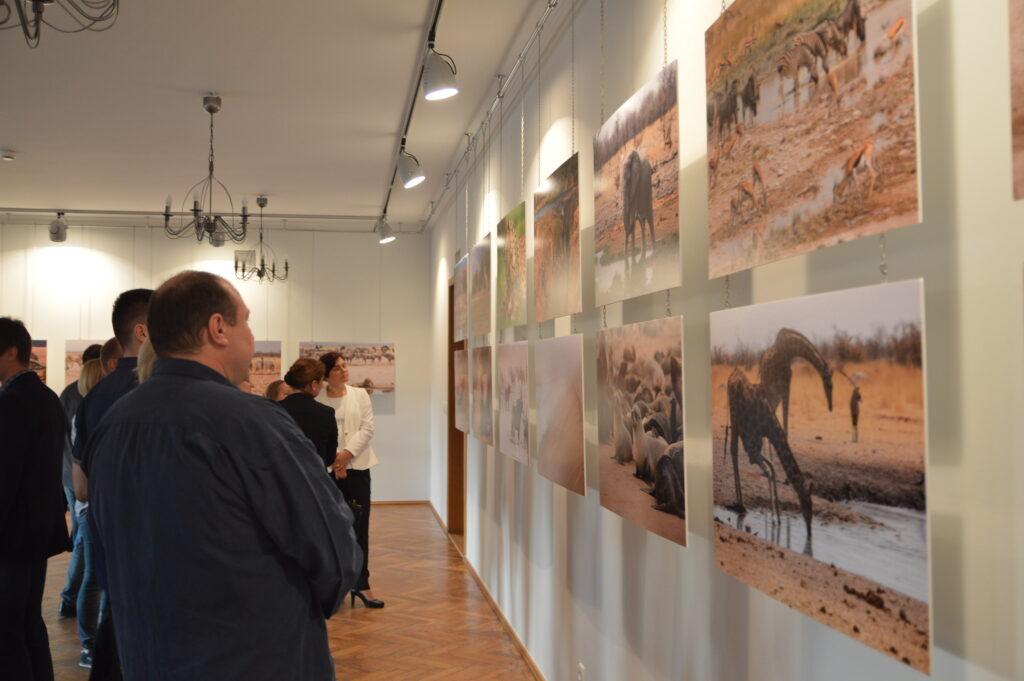 Ludzie na otwarciu wystawy zdjęć z Afryki